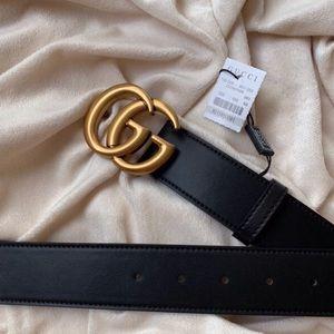 gNew Gucci Belt GG Åüthentïć Double G Marmot Gold